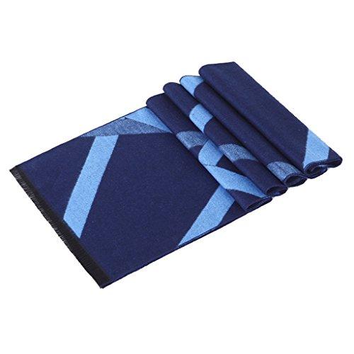 GWELL Homme Echarpe Foulard Châle d'Hiver Chaud Scarf Franges Officiel Businesse Casual Classique Losange Jacquard Bleu
