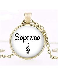 JMZDAW Collier pendentif Collier Bijoux Tendance Musicale du Chanteur  Soprano Dôme en Verre Cadeau Femme Pendentif 23da3d8baa1