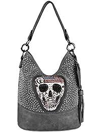 a064d5af93377 OBC Damen Totenkopf Skulls Tasche Strasssteine   Sonnenbrille Glitzer  Bowling Handtasche Shopper XL Beuteltasche Schultertasche Umhängetache