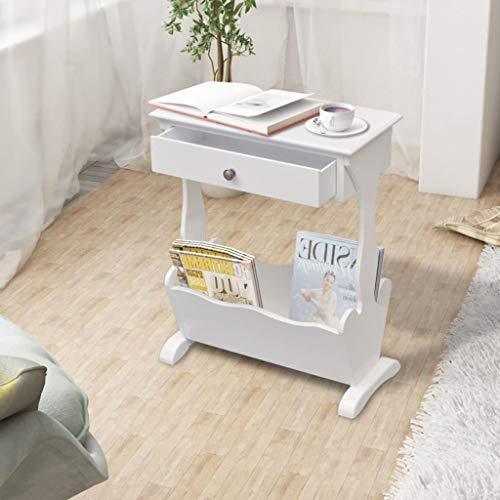 Generic e Table Basse en Bois Magaz avec tiroir Blanc