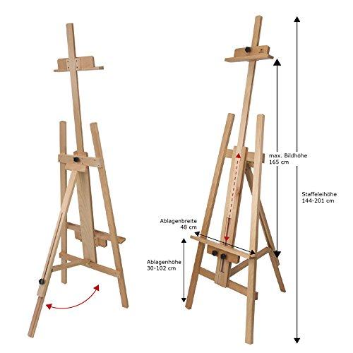 Staffelei OSLO - für Keilrahmen bis 165, Dreibein-Staffelei aus Buchenholz FSC®, Atelierstaffelei aus Vollholz vom Fachhändler für Künstlerbedarf