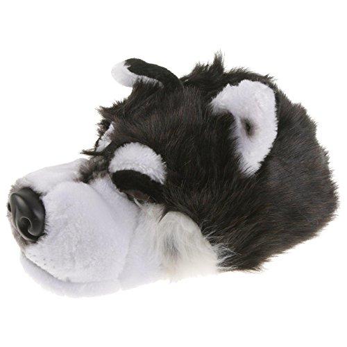 Tierhausschuhe Husky Wolf Tier Hausschuhe Pantoffel Puschen Schlappen Kuscheltier Plüsch Unisex Schwarz 36-48, TH-Wolf, Schuhgröße 37/39