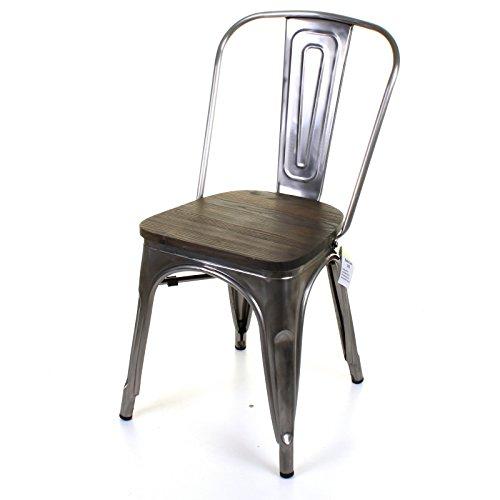 Marko Furniture Roma Metal Dining Chair Stackable Industrial Vintage Seat Bistro Kitchen Garden Chair (2 Chairs, Steel)
