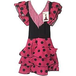 Traje de flamenca para niñas, color rosa, lunares negros Pink and Bkack