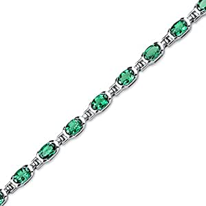 Revoni 7.00 carats Oval Shape Emerald Gemstone Bracelet in Sterling Silver