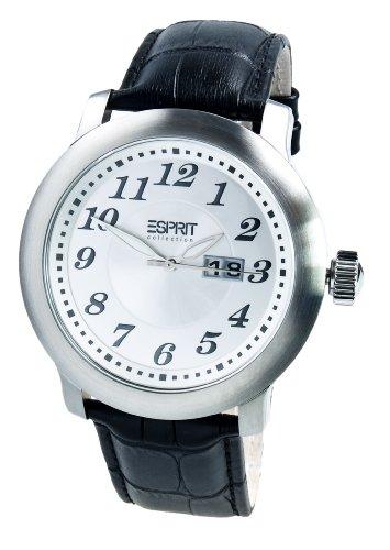 Esprit EL900171001 - Reloj analógico de cuarzo unisex con correa de piel, color negro