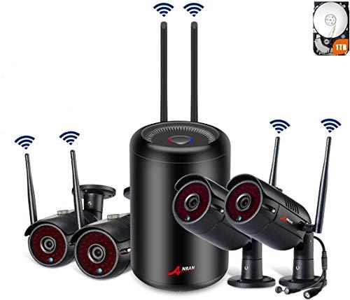 SWINWAY überwachungskamera aussen WLAN Set, 4 Kanal 1080P WiFi NVR überwachungskamera System mit 4 x 2.0MP Wasserfeste IP Kameras, Remote-Ansicht, Automatische Verbindung, 1TB Festplatte ANRAN