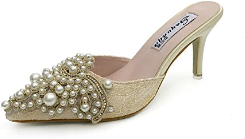 dandanjie  s chaussures chaussures s pu été sandales de talon aiguille bout ouvert pantoufles et tongs pour abricot rose 574d6e