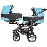 BabyActive Twinni Zwillingskinderwagen Geschwisterwagen Zwillingsbuggy Farbe Nr.01 Citiblue