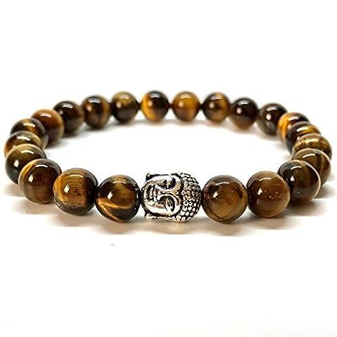 GOOD.designs bouddha-bracelet en pierre semi-précieuse perles de 8mm, chakra-pendentif (Tigereye)