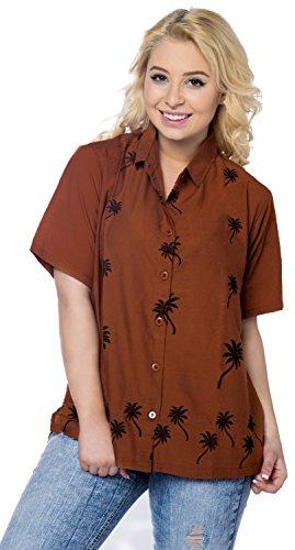 La Leela bestickte Rayon hawaiische lässig aloha Knopf unten Frauen Tank Top Kurzarm-Shirt braun Braun