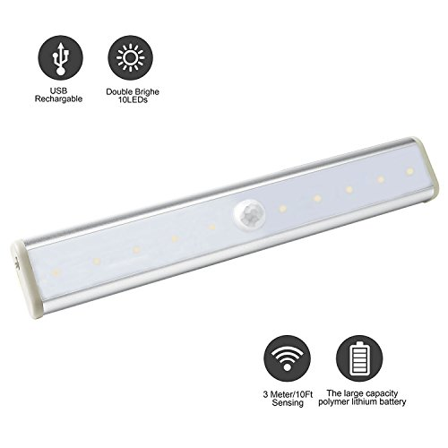 Daping-Lampada-Armadio-Sensore-di-Movimento-e-Crepuscolo-Luce-Notturna-10-LED-Ricaricabile-3-Modalit-di-Luminosit-Torcia-di-Emergenza-con-Magnete-per-la-Notte-per-le-Scale-e-per-i-Gradini-con-Striscia