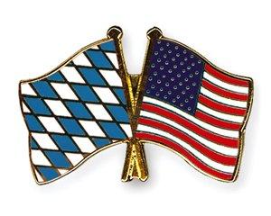 Yantec Freundschaftspin Bayern - USA Pin Anstecknadel Doppelflaggenpin