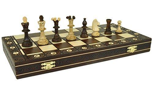 Wegiel CONSUL HANDCRAFTED TOURNAMENT WOODEN CHESS Board 19 x 19 Inch- Chessmen Weighted