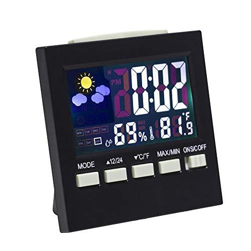 Lanker Reloj De Escritorio Digital - con Pantalla LCD, Luz De Fondo, Hora/Fecha / Semana/Pantalla De Alarma, Monitor De Temperatura De La Humedad Y Función De Repetición - AC09A