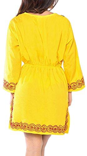 verschleiern Tunika Top mit langen Ärmeln Damen Badeanzug Badeanzug Kleidfrauen hawaiianische Sommerhemd Urlaub gestickt gelb | uns: 12w (en) - 26w (2x) | uk: 14-28