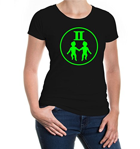 Girlie T-Shirt Zwillinge-Tierkreiszeichen-XL-Black-Neongreen Black-Neo