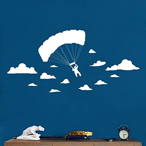 Geschnitzte kreative fallschirm weiße wolken Abnehmbare aufkleber extreme sport wohnzimmer schlafzimmer dekoration Vinyl Wandbild wandaufkleber
