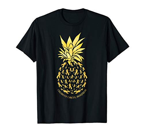 Pineapple with Childhood Cancer Awareness Tshirt Ribbon Gift -