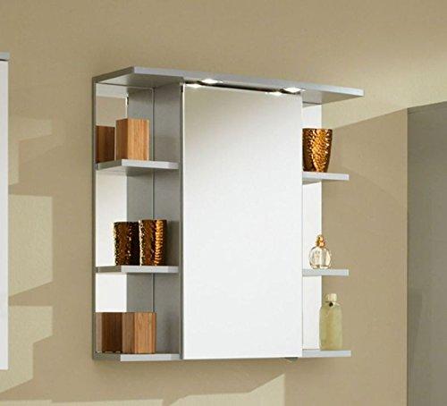#Zoll Simply Mendo Spiegelschrank Chelsea mit 1 Spiegeltür, 2 Glasfachböden und 6 seitliche Ablagefächer in silber#