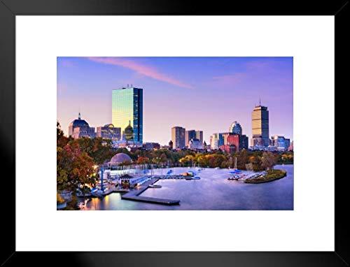 Poster Foundry Boston Massachusetts Harbor JFK Prudential Skyline Foto 20x26 inches Matted Framed Poster