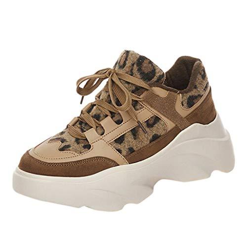 BaZhaHei Sneakers Donna Leopardo Fondo Spesso,Eleganti Scarpe Sportive Ragazza Casual Traspirante Soft Slip-On Scarpe da Corsa Running Shoes con Sportive All'aperto