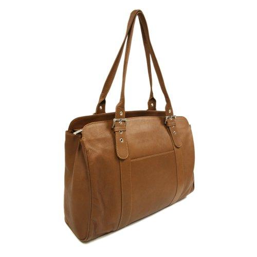 Piel Leather Laptop-Tasche mit Schnalle für Damen in Sattelbraun, Einheitsgröße (Piel Schnalle Damen)