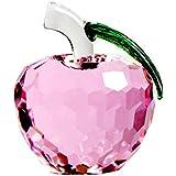 2.3pulgadas (60mm) cuentas de cristal facetado cristal Apple figura decorativa pisapapeles regalos, de Navidad, Nochebuena Creative paz regalo, regalos para mamá y profesor, color rosa