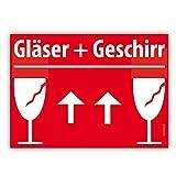 30x VORSICHT GLAS Umzugetiketten, A6 15x10cm, Rot, Sicherheitsetikett als Warnhinweis selbstklebend, 30 Stück