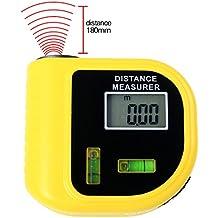 A-szcxtop Mini 18m/60ft medida de distancia ultrasónico medidor láser de punto con 2burbujas de nivel medición precisa pies o metros telémetro uso para electricistas, contratistas, masones, remodelers, pintores, arquitectos, inspectores, Builder