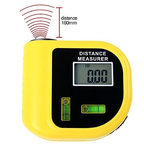 A-SZCXTOP Mini 18M / 60FT Ultraschall-Distanzmessung Laser-Punkt-Messgerät mit 2-stufigem Bubbles Genaue Mess-Füße oder Messgeräte Entfernungsmesser für Elektriker, Bauunternehmer, Freimaurer, Umbauer, Maler, Architekten, Inspektoren, Baumeister