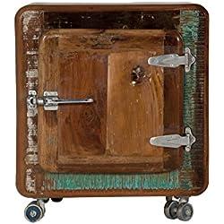 SIT-Möbel 2659-98 mesilla nevera, 50 x 38 x 56 cm, auténtica madera vieja, con nevera asas de metal ruedas, rojo