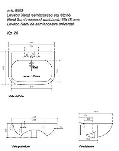 Galassia Turca Parnaso completa di raccordo installazione a filo pavimento 51x61 cm