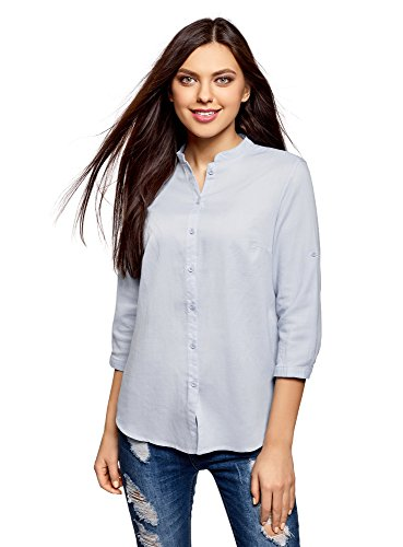 Oodji collection donna camicia in cotone con collo alla coreana, blu, it 44 / eu 40 / m