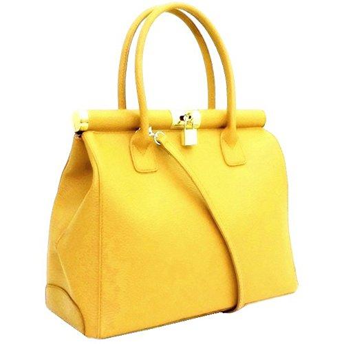 LUXURY LEATHER BAG Borsa DEEP ROSE in Vera Pelle cuoio martellato Donna Made in Italy a spalla a mano shopper modello judith (giallo)