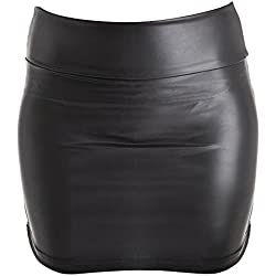 Veroda negro de la mujer vestido lápiz de piel sintética elástico medias Mini falda negro negro S