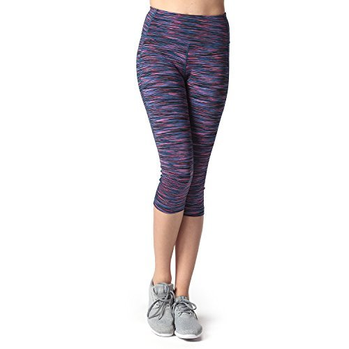Lapasa Damen 3/4 Sport Leggings – blickdicht, dehnbar und luftig, 3/4 Yoga Sporthose, Damen kurz Training Tights, L002, Blaulila, XL (Damen-training)