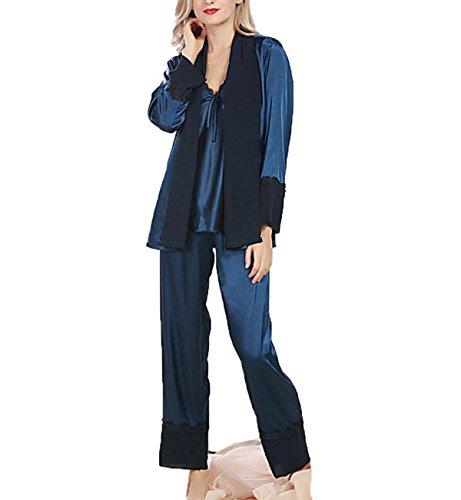 Seta Ms. Primavera Pantaloni A Maniche Lunghe Sexy In Tre Pezzi Pigiami Blue