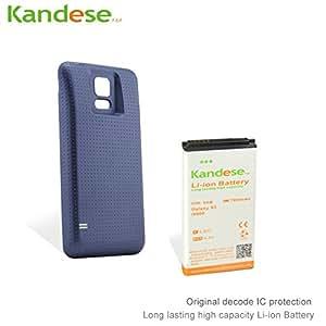 Kandese Grande capacité étendue Remplacement 7800mAh Batterie au lithium pour téléphone Samsung Galaxy S5 I9600 avec couvercle arrière (BLEU)