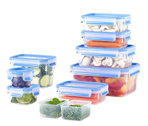 Emsa 515481 Food Clip & Close, Plastik, Transparent / Blau, Packung mit 9 Boxen