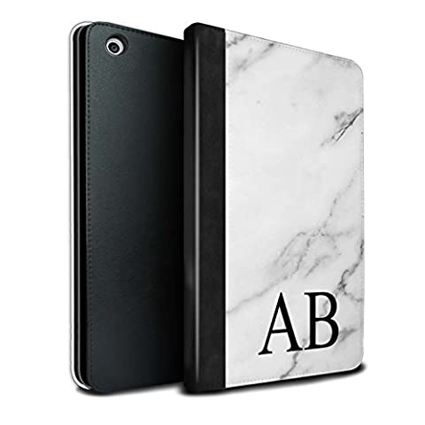 Personalised Custom Marble PU Leather Case for Apple iPad Mini 1/2/3 / Daisy White Monogram Design / Initial/Name/Text DIY Tablet Book Cover