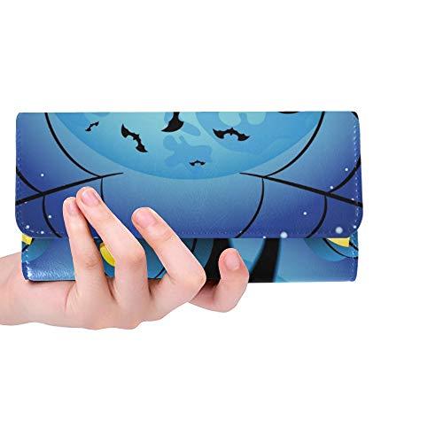 Einzigartige benutzerdefinierte Katze Halloween Kürbisse gegen Vollmond Frauen Trifold Wallet Lange Geldbörse Kreditkarteninhaber Fall Handtasche