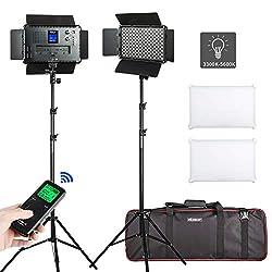 (2 Packs) VILTROX VL-S192T LED Vdeolicht Beleuchtung kit: 45W 3300K-5600K Zweifarbiges LED Video Licht Panel mit Lichtstativ für Studio Porträt Fotografie Interview