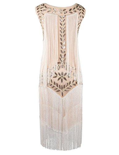 PrettyGuide Damen 1920er Vintage Paillette Alle Fransen Inspired Flapper Kleider M Champagner
