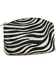"""'Belli® """"Bellini Petit en cuir véritable fourrure véritable Trousse Maquillage Zebra Leo Trousse Vache–18x 13x 5cm (B x H x T)"""