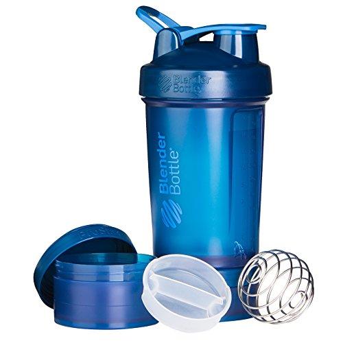 BlenderBottle ProStak Shaker | Protein Shaker| Fitness Shaker | BPA frei | mit BlenderBall | inkl. 2 Containern 150ml & 100ml +1 Pillenfach | 650ml - Navy