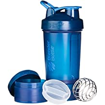 BlenderBottle Prostak Full Color Botella de Agua y Accesorios, Unisex Adulto, Navy, 650 ml