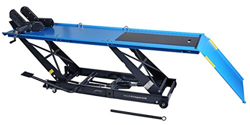 Pro-Lift-Montagetechnik PLB450-PHS Motorradhebebühne schmal, Parallelogramm, 450kg, mit Fußpedal-Antrieb, blau, 02060