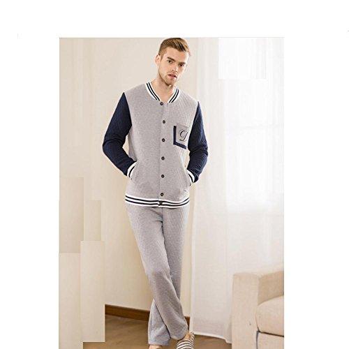 DMMSS Cuciture colore U-collo cotone laminato maschile tessuto Set pigiama