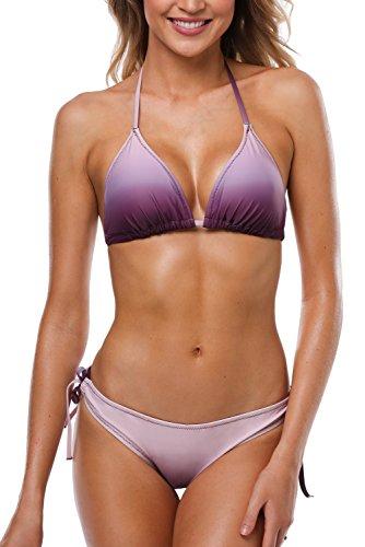 CharmLeaks Damen Bikini Set Mit Schalen Cups Neckholder Bikinis Triangel Zweiteilige Strandkleidung Violett L
